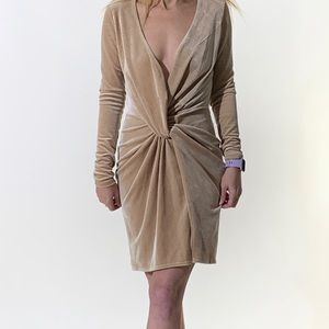 NWT Meshki Nude Crushed Velvet Dress Size XS